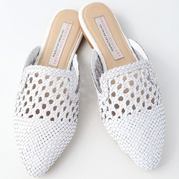 Camille White Woven Leather Loafer Slides