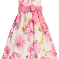 Pink Floral Print White Cotton Spring Occasion Dress with Taffeta Trim (Toddler & Girls Sizes)