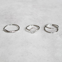 SILENCE Knuckle Ring Trio (3 pc) - Silver/Gold