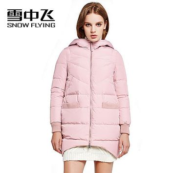 SNOW FLYING 2017 asymmetric length medium-long XS-XXXL knitted hooded coat solid womens winter jackets with pockets X1601018