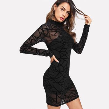 Party Dress Women Sexy Bodycon Dress Black Long Sleeve Stand Collar Transparent Sheer Mesh Overlay 2 In 1 Dress