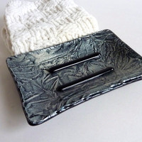 Soap Dish in Black and Silver Fused Glass