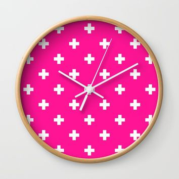 Swiss cross pattern on deep pink Wall Clock by My Home Decor