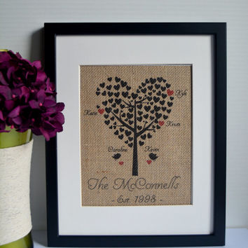 Family Tree Burlap Print - Burlap Art with Children's Names - Heart Tree - Personalized gift - Family Christmas Gift - Mothers Day Gift