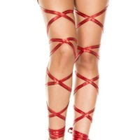 Red Metallic Wet Look Leg Wraps