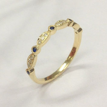 Diamond Wedding Ring,14K Yellow Gold,Art Deco Antique,Round Cut Blue Sapphires with Diamond,Half Eternity Matching Band,Stackable