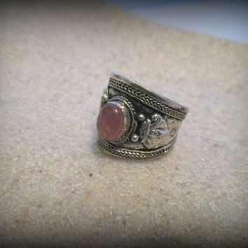 Bohemian jewelry,tibet silver jewelry,tribal ring,pink moonstone,gypsy ring,vintage ring