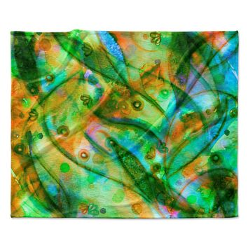 "Ebi Emporium ""Flourish - Green"" Emerald Floral Fleece Throw Blanket"