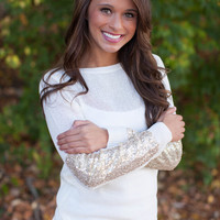 Arm Candy Sequin Sweater - White & Gold Sequined Sleeve Sweater