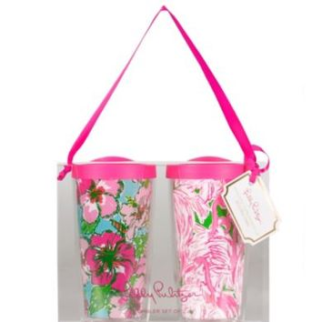 Lilly Pulitzer Big Flirt & Pink Colony Insulated Tumbler, Set of 2 | Dillards.com