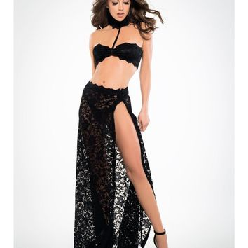 Adore A1033 Women's See Through Me Lace Bandeau Top and Skirt