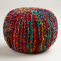 Multicolored Knitted Sari Pouf - World Market