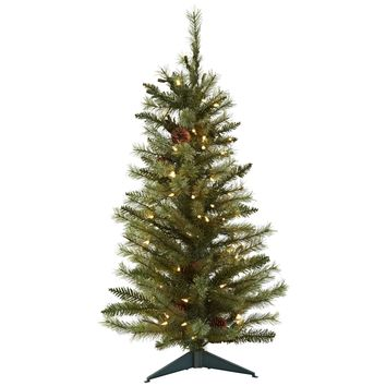 Artificial Tree -3 Foot Christmas Tree With Pine Cones And Clear Lights