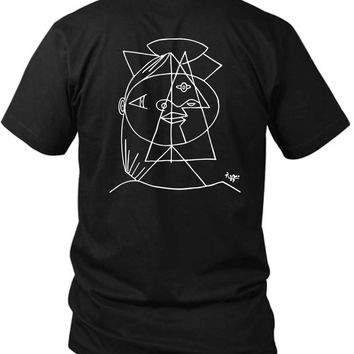 Picasso Cubic Sketch 2 Sided Black Mens T Shirt