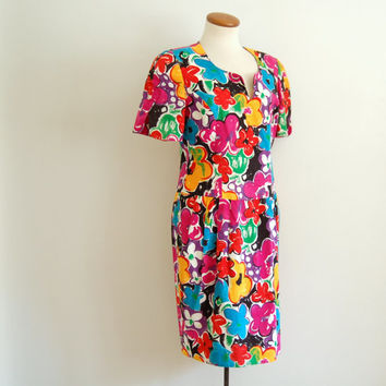 80s floral mini dress - vintage bright pink flower print bodycon linen sheath dress - small / medium