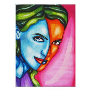 2 faced Woman Abstract Colorful Modern Art Poster