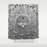 Silver Yin Yang Shower Curtain by Tree Of Life Shop