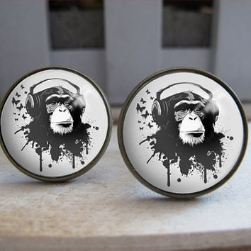 Mens Cuff Links , Vintage Brass Monkey Design Cuff Link , CUSTOM Cufflinks