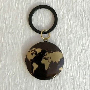 World Map Locket Keychain, men's groomsmen wedding gold brass vintage antique key chain photo earth globe travel gift gifts unisex men