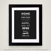 Home Is... - 11x17 typography print - modern typography print - interior decor - kitchen decor - inspirational quote - family print - trendy