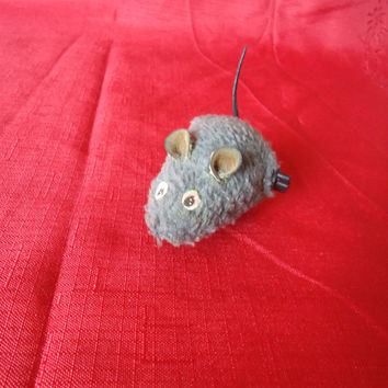 Vintage Life Like Small Furry Felt Wind Up Mouse Mechanical Toy