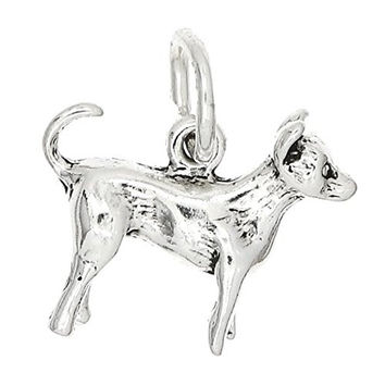 Sterling Silver Chihuahua Charm Dog Jewelry Animal Pendant for Bracelet or Necklace