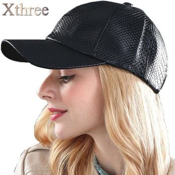 ESBONHS [Xthree] fashion Baseball Cap women fall faux Leather cap hip hop snapback Hats For men winter hat for women