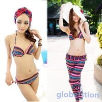 Striped Bikini w/Pant Padded Up Ethnic Boho Brazilian Swim Bathing Suit 3 Pcs