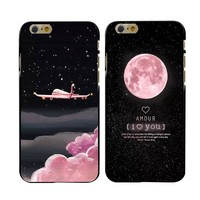 Fashion Space Moons Cartoon Case For iphone 7 Case Cute Candy Airplane Frosted Hard Cover Phone Cases For iphone 7plus 5s 6Plus