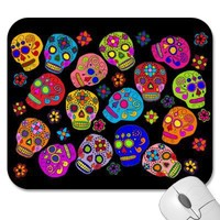 Mexican Folk Art Sugar Skulls Mouse Pads from Zazzle.com
