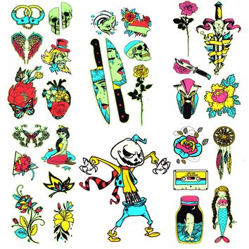 BodyJ4You Temporary Tattoo Flash Henna Body Face Anime Girl Rose Floral Biker Skull Glow Dark Color