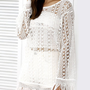 Casual Long Sleeve Openwork Fringed Cover-Up