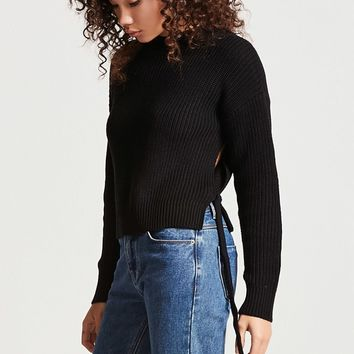 Vented Tie-Hem Sweater