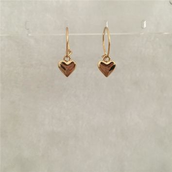 LOVELY GOLD COLOR HEART CHARM SMALL HOOP EARRING FOR WOMAN GIRL