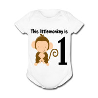 UNPUBLISHED - Spreadshirt Article not found   This Little Monkey - Baby Short Sleeve One Piece