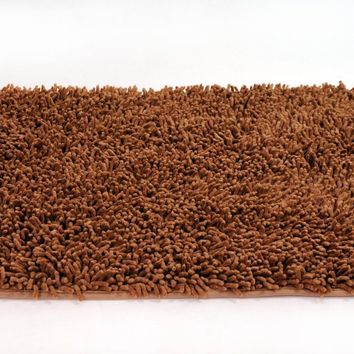 DaDa Bedding Coffee Brown Shaggy Chenille Rug Mat