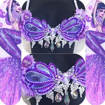 LED Purple Passion Siren Seashell Bra (LED lights): rave wear, festival, edm, rave bra, edc, electric mermaid, plur, coachella, mermaid