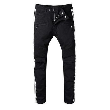 ONETOW 992 denim moto pants biker jeans maleMens european and american style slim skinny elasticity jeans size 28 42