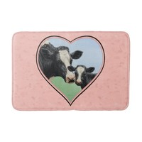 Holstein Cow and Calf Pink Heart Bath Mats