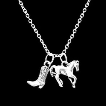 Cowboy Boot Horse Cowgirl Country Western Farm Ranch Girl Charm Necklace