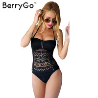 BerryGo Summer crochet lace one piece bodysuit Women bathing suit high waist swimwear Sexy bodysuit hollow out padded monokini