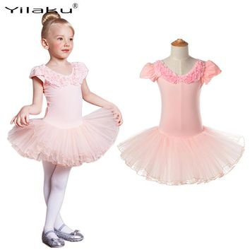 Classical Girl Ballet Tutu Dress Children Dance Costume Petal Sleeve Girls Lace Dresses Floral Kids Girl Ballerina Dress CA385