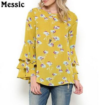 Casual Loose Layered Long Butterfly Sleeve Floral Blouse Shirt Women Autumn Round Neck Patchwork Ladies Tops
