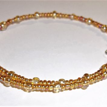 Golden Yellow Carnival Glass Artisan Crafted Stackable Wrap Bracelet (L-XXL)