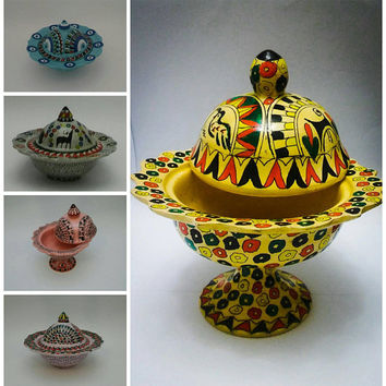 Sugar Bowl with lid, Box, Keeper, Container, Folk Design,  Mother's Day Gift, Turquoise, Pink, Purple, Yellow, Cream, Evil eye, Hittite