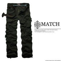 Hot Selling Match Mens Cargo Pants Trousers Black Green Gray Sz M-XXL #6326
