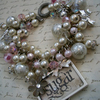 Sugar Charm Bracelet - Romantic Mixed Beads and Charms Statement Bracelet