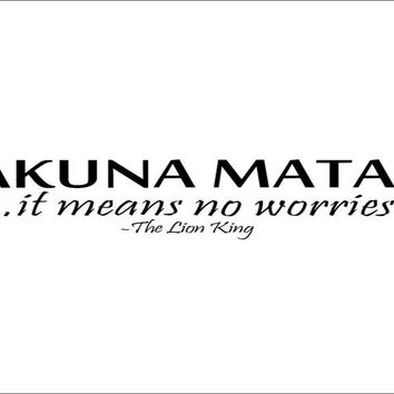 Hakuna Matata it Means No Worries Removable Wall Sticker
