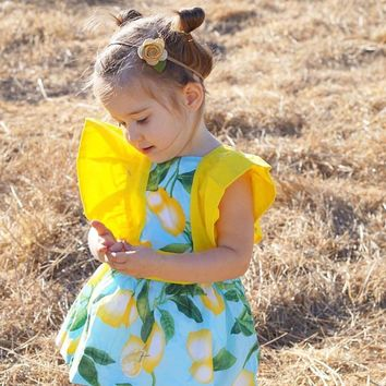 Girls Cotton Lemon Printed Floral Romper