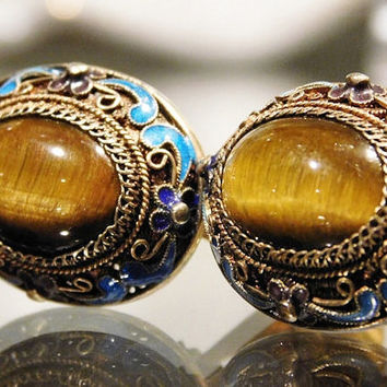 Vintage Chinese Enamel Tigers Eye Clip On Earrings Mid Century Hollywood Glam 1950s Gold Gilt Filigree over Sterling Silver Chinese Export